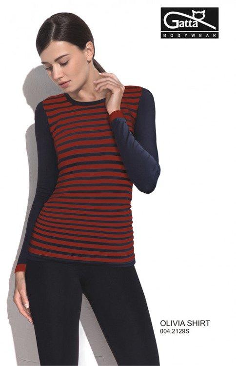 7eb95943e5527a 42129 Olivia Shirt Bluzka damska z długim rękawem Gatta granatowo-czerwona