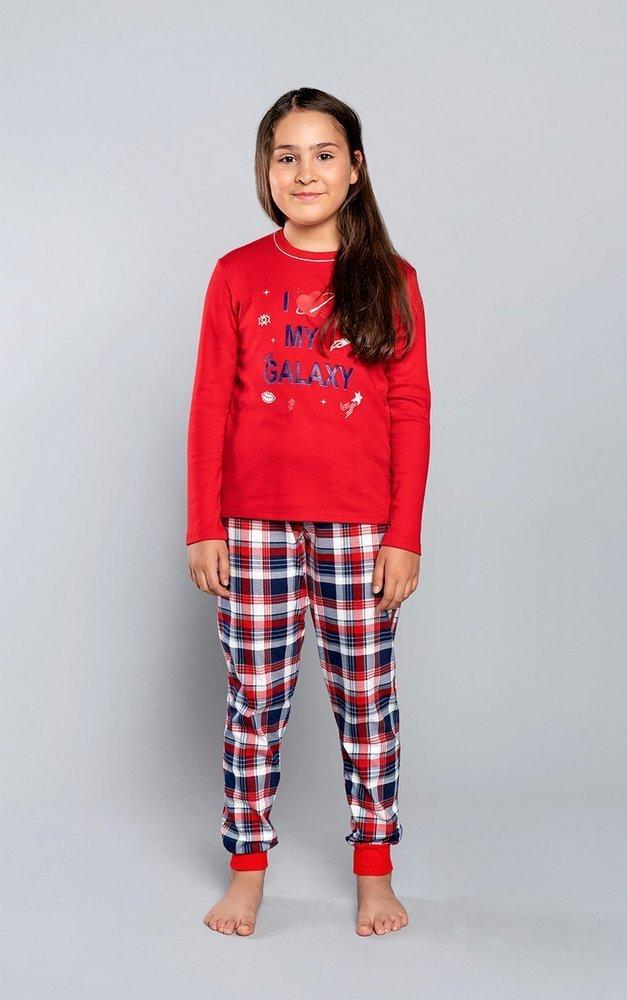 Bawełniana koszula dziewczęca z długim rękawem w czerwono