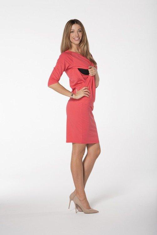 ca9cc220d2 Sukienka ciążowa i do karmienia rękaw 3 4 Cool Mama koral koral ...